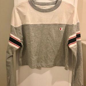 Champion Striped Long Sleeve Crop T Shirt